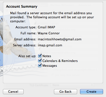 Gmail confirmation screen