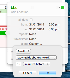 To change the email alert address, edit your 'work' and 'home' email address in Address book!
