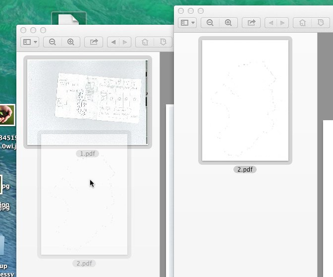 Put the new pdf file under the existing one and it will not merge - note there is no plus sign and just a single grey border.