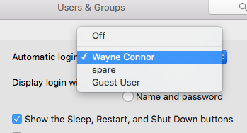 Select the user who you want to automatically login.