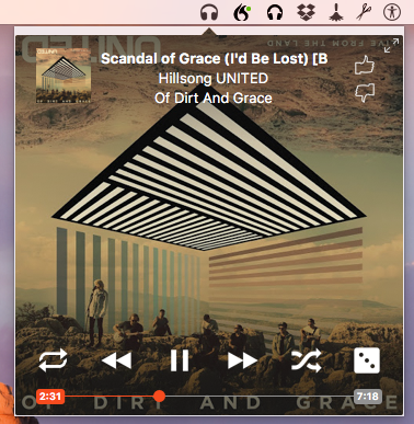 The radiant player appears in your menubar and allows you to play songs from Google play.